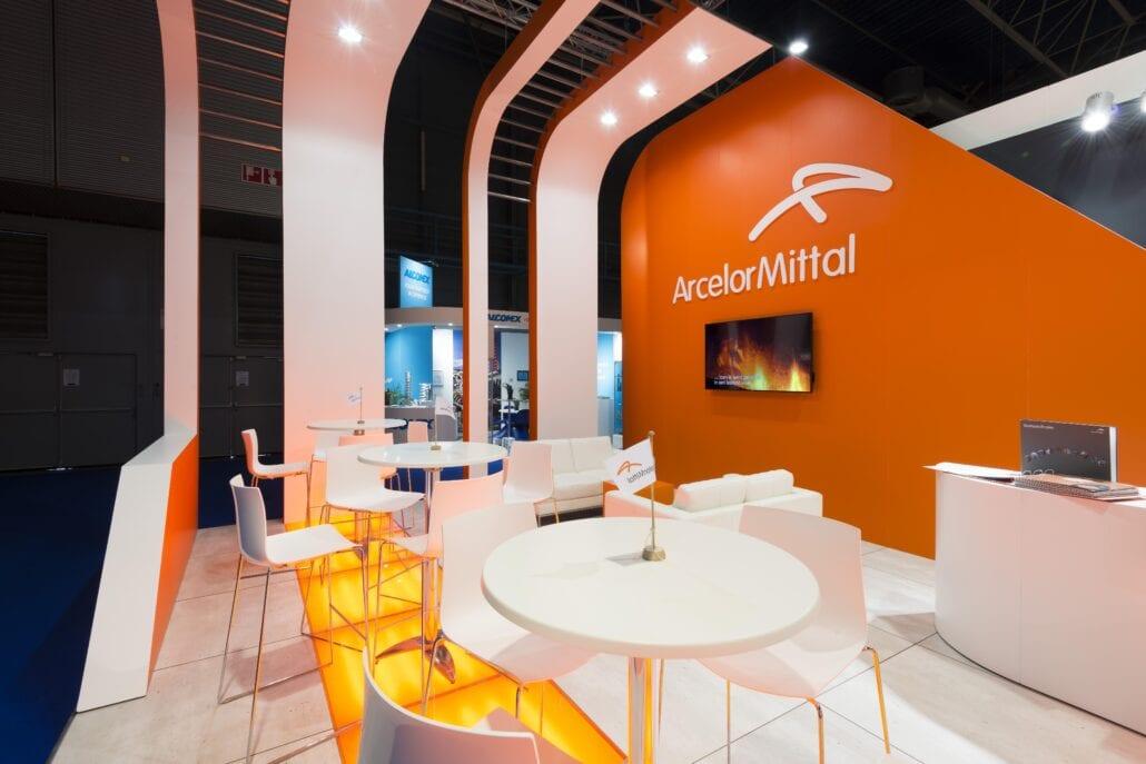 Lounge zithoek op de beursstand Arcelor Mittal Esef