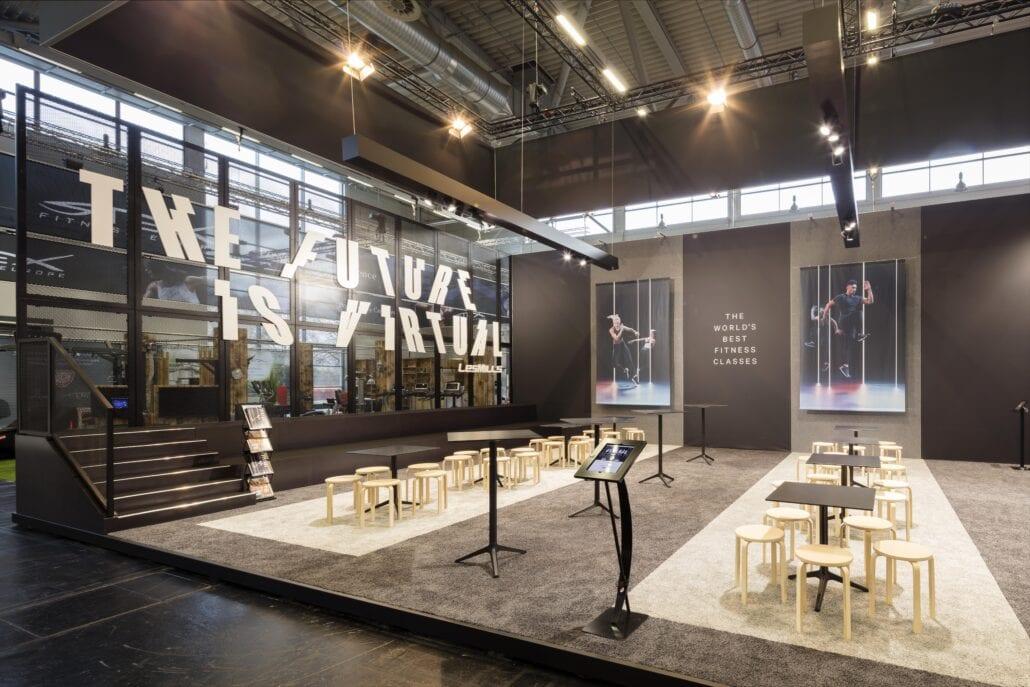 open en attractieve beursstand voor Les Mills op Fibo Keulen met Aluvision frames