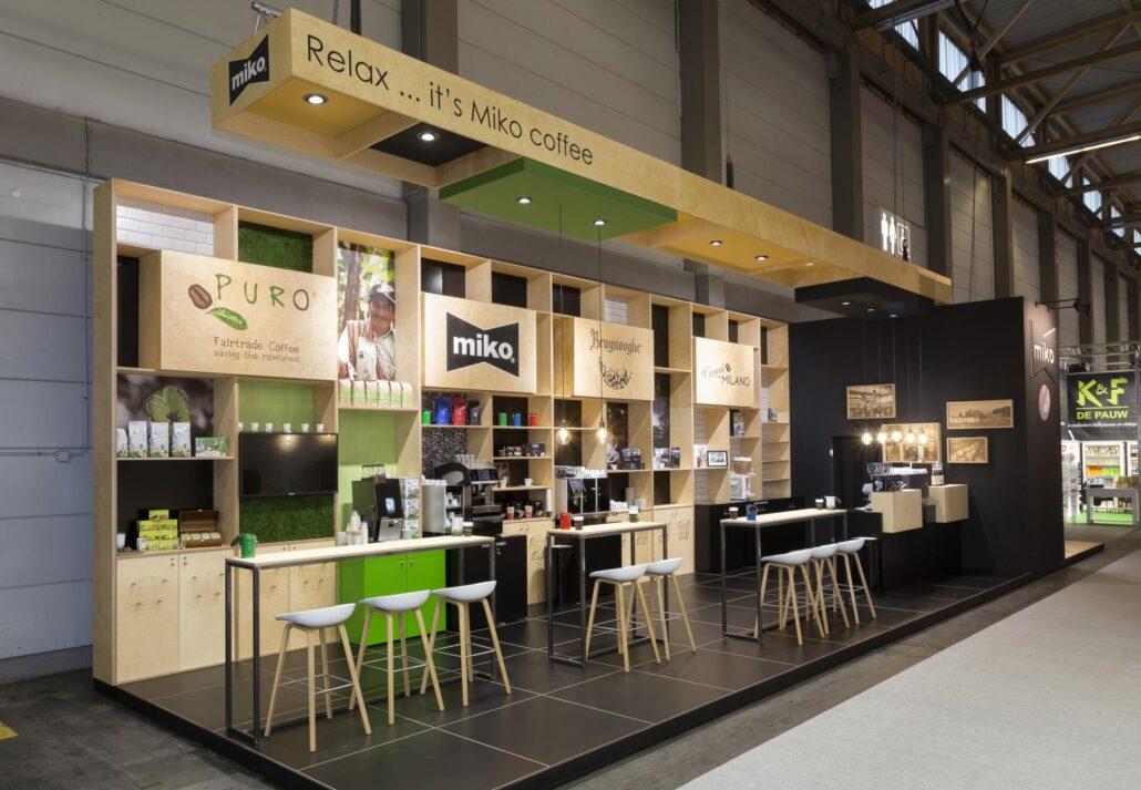 beursstand voor Miko, Puro, Bruynooghe en Grand Milano koffie op Horeca Expo Gent