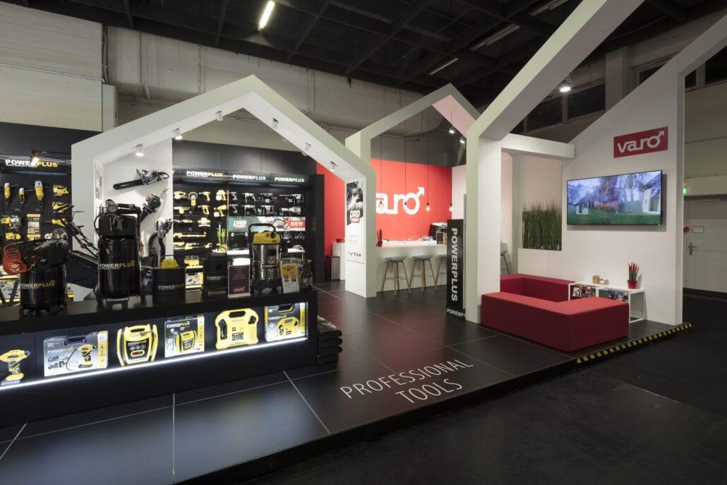 beursstand Powerplus ontwerp huisjes concept