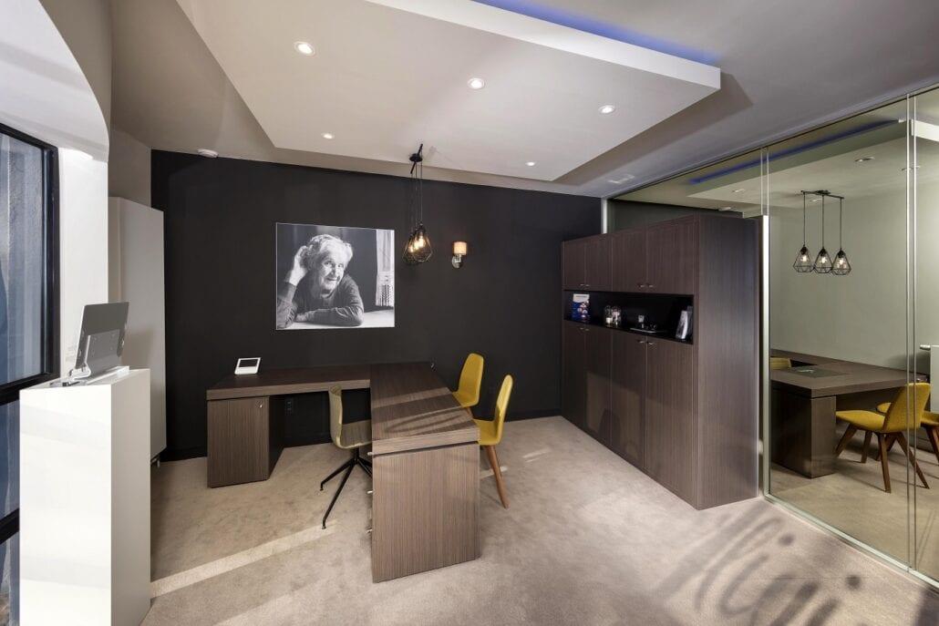 Detail akoestische bureauruimte interieurbouw Hoorliving kantoorinrichting