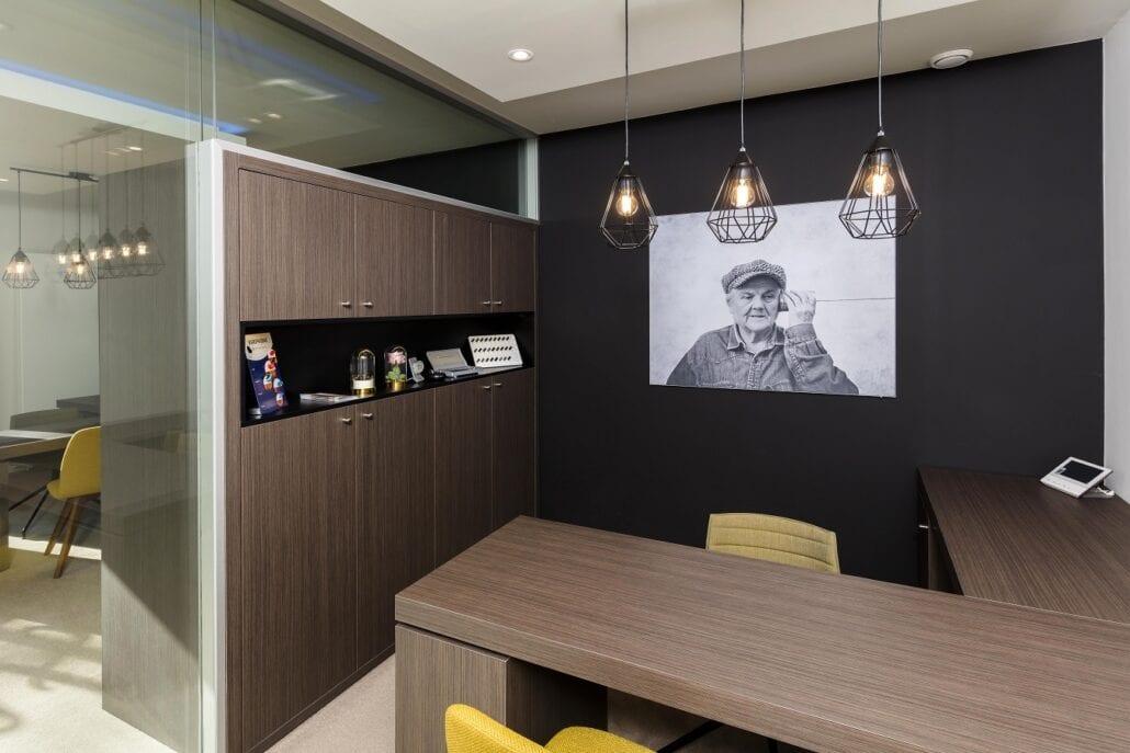 Overzicht akoestische en gezellig kantoorruimte interieurbouw Hoorliving