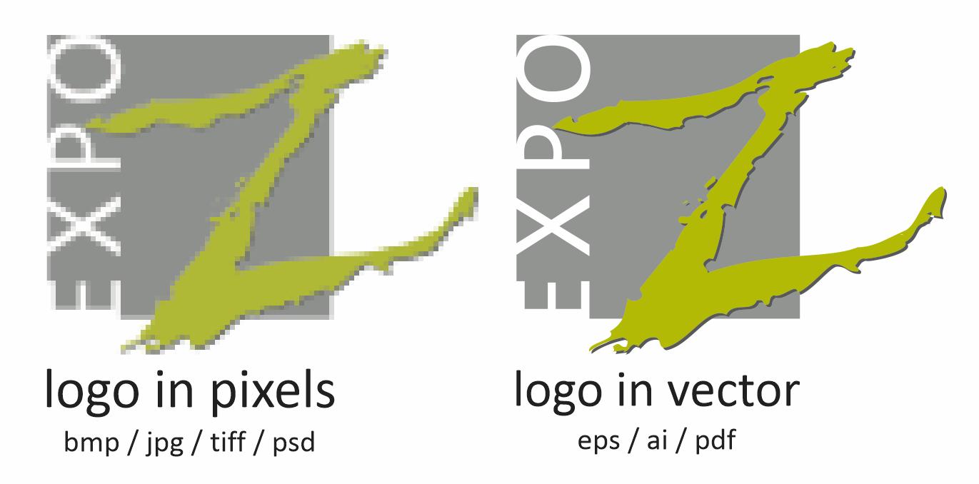verschil tussen een logo in pixels en een vector logo