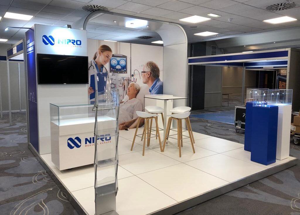 modulaire standenbouw voor Nipro op een congres in het buitenland